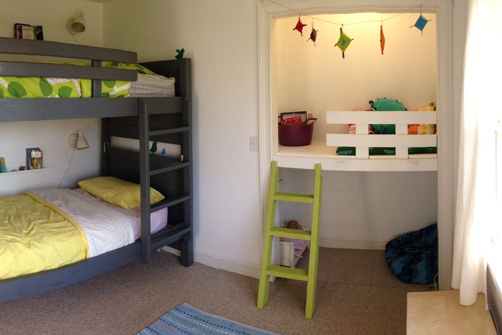 Full size bunk beds in the kids room.
