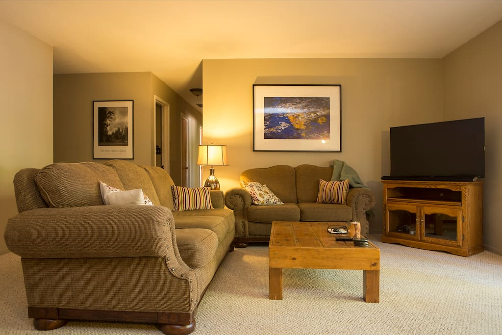 A comfortable place to relax, watch TV, and play games.