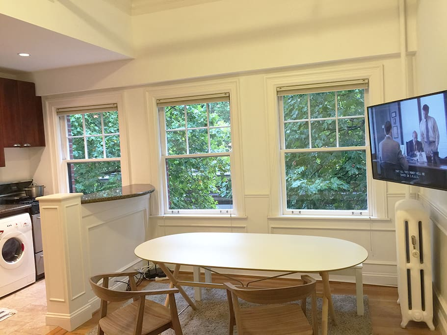 Dining/work table seats 4-5 people. TV has Netflix/Cable and can pivot to watch from daybeds/beds