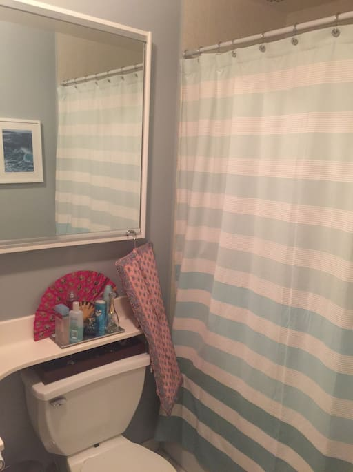Bathroom has full tub and shower. Shower head is tall, great for taller guests, and makes the bath feel spacious for a comfortable shower!