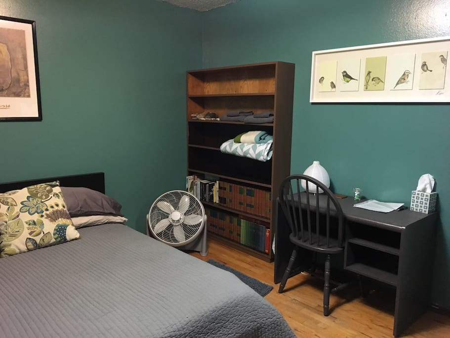 Comfortable double bed, extra blankets, towel set, fan,  desk and chair with lamp all to help you feel at home.
