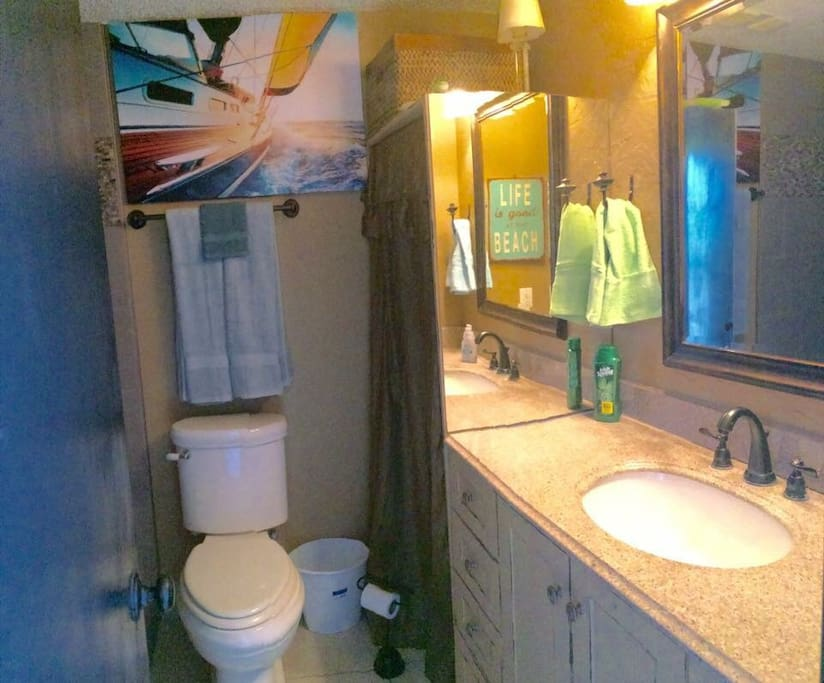 nice size bathroom with with walk-in shower,
