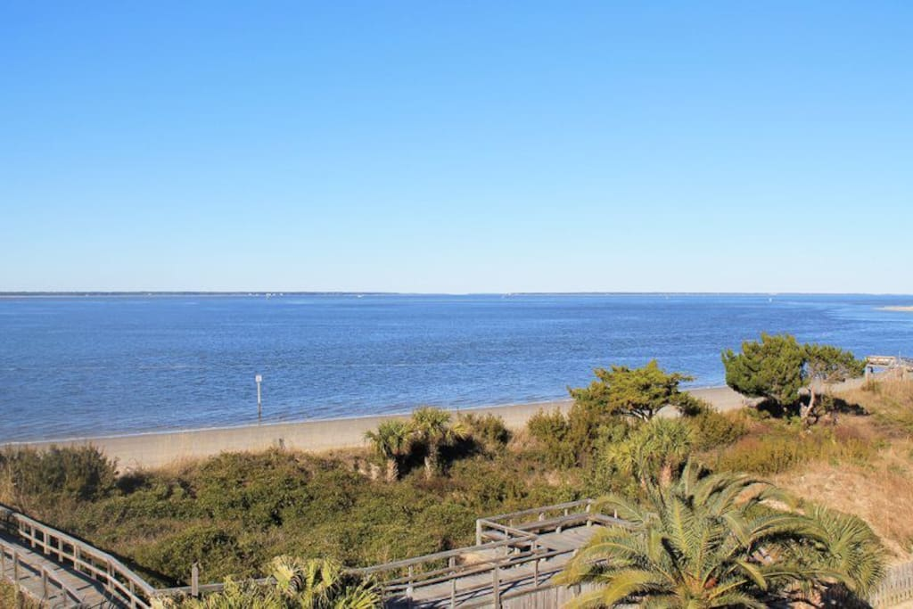 Enjoy spectacular views of the Savannah River entrance and Atlantic Ocean, ocean breezes, dolphin watching and beautiful sunrises and sunsets