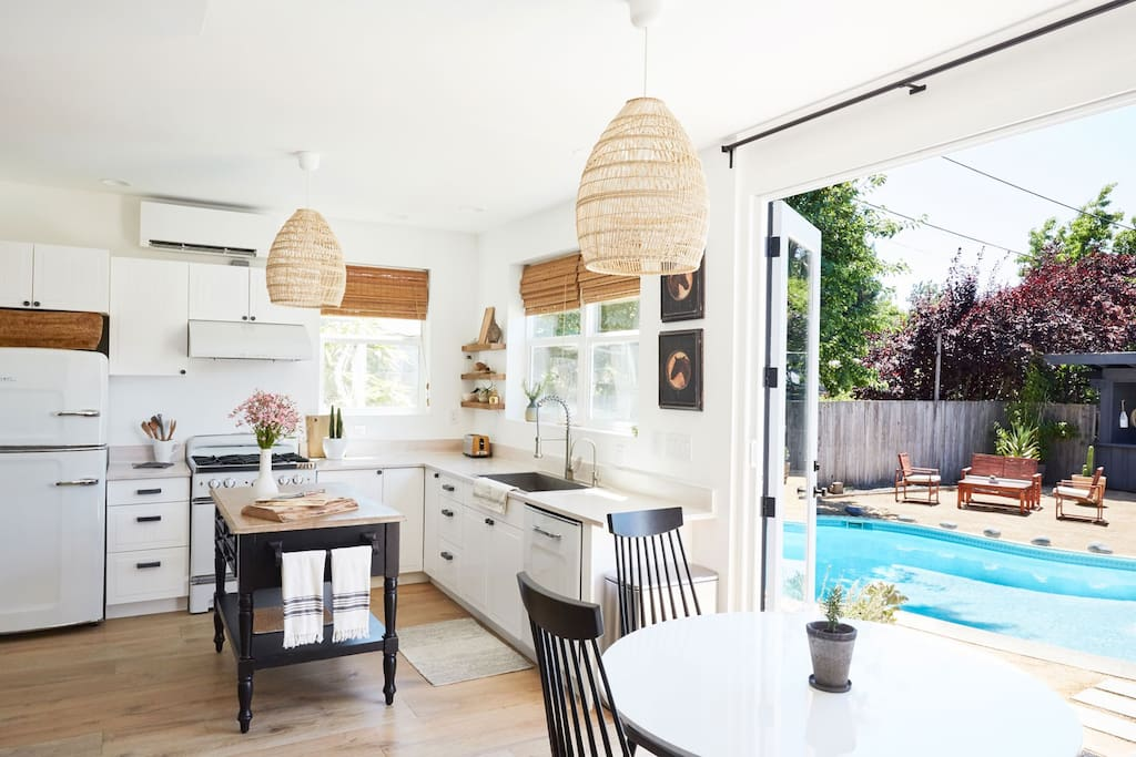 Kitchen with view to backyard