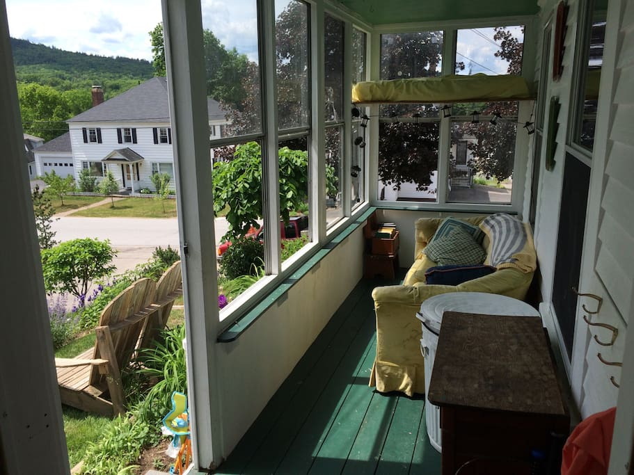 Our sunny front porch with a view over the town.