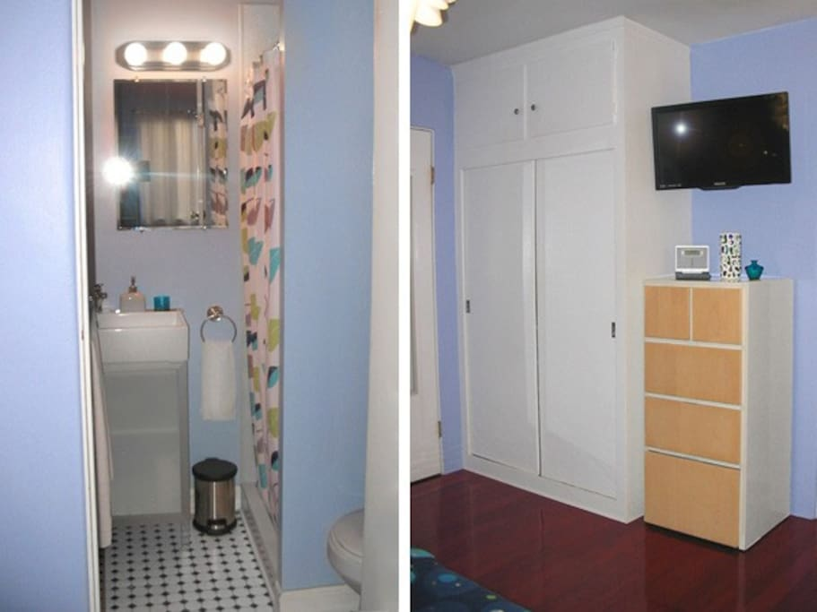 Newly Remodeled Bath with Shower. Towels and other bath ammenities included. Large wardrobe closet and dresser offer plenty of storage. Hair dryer, clothes iron/board provided.
