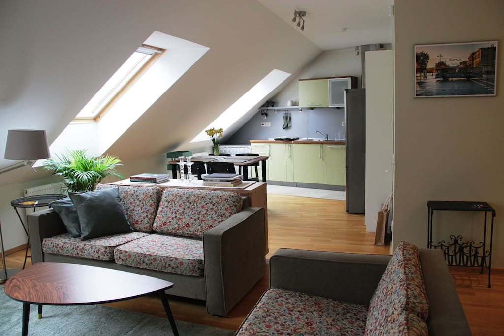 Skylights give more light to living room and kitchen