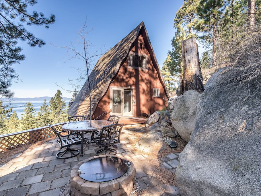 Your Tahoe area rental boasts sweeping lake views and plenty of indoor and outdoor living space.