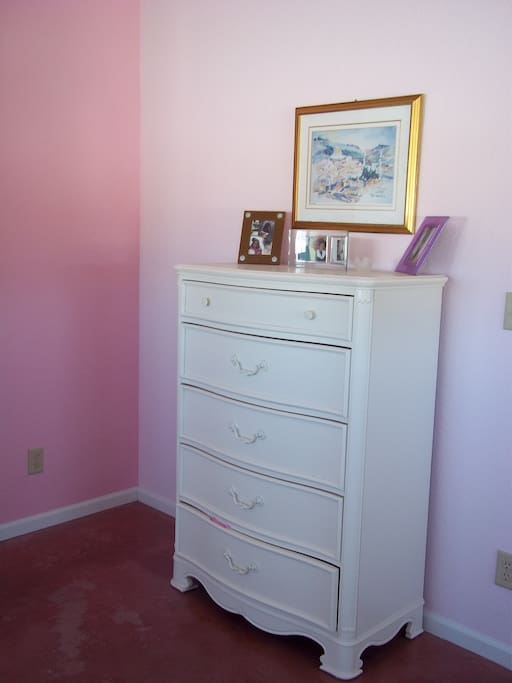 Dresser for guest use.