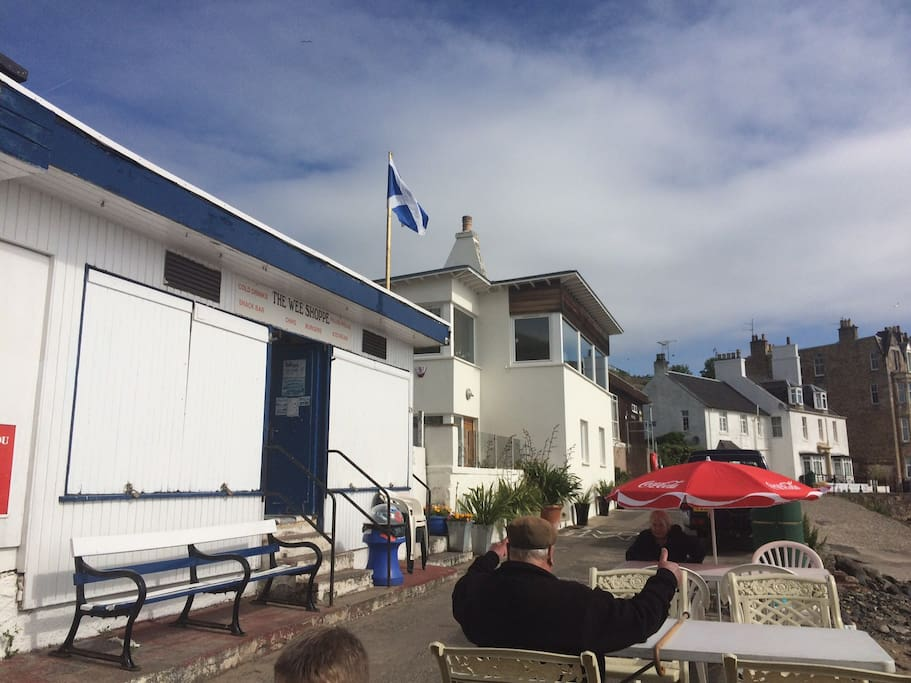 The Wee Cafe on the beach is one of the surprising highlights of a short walk along the beach. Full Scottish breakfast and haggis and egg rolls are a specialty!