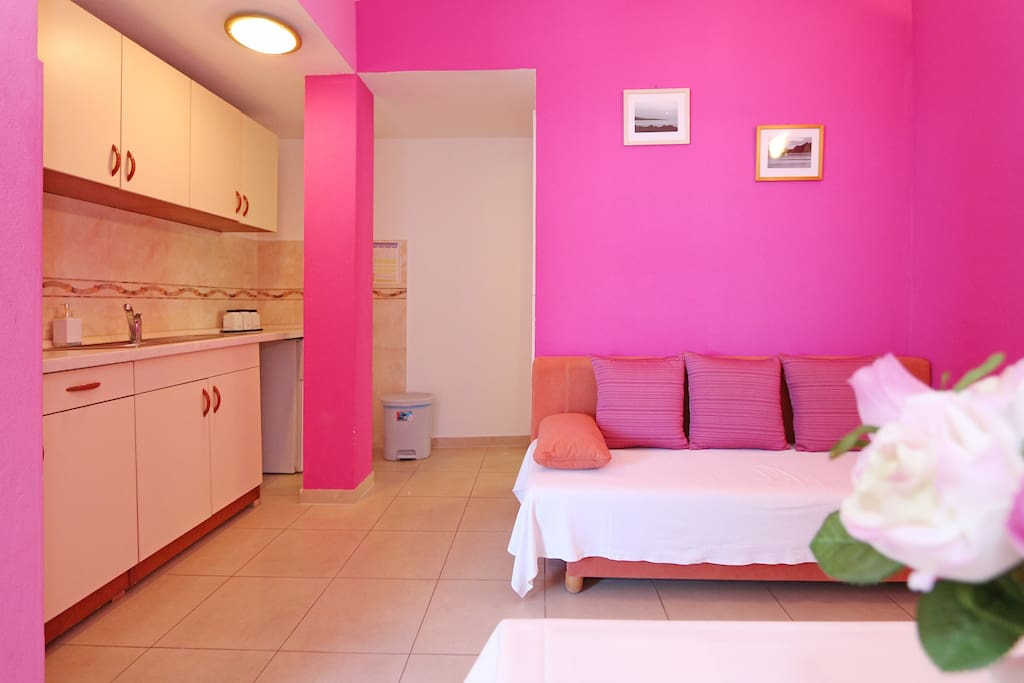 Kitchen, sleeping sofa for 2 person, total accommodation for 6 person