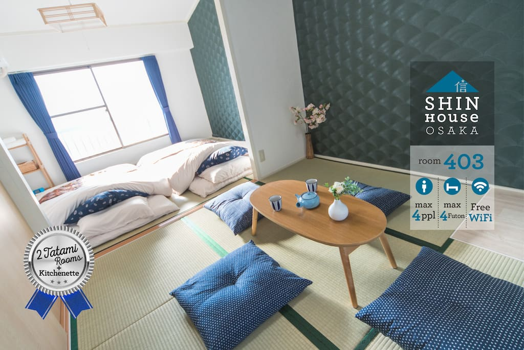 Stylish and Authentic Tatami Japanese Room Coordinated in Traditional Navy Tone for 1-4 People, Just Renovated in Jun 2017