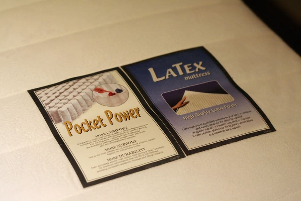The bed is equipped with a very comfortable latex mattress (super single size).