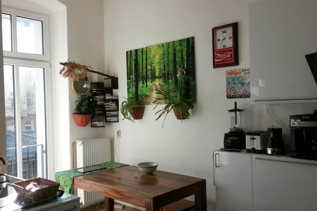 sunny and big kitchen, with fullautomatik Coffemachine