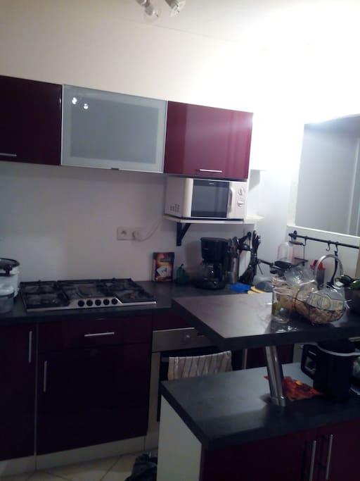 Petite cuisine fonctionnelle avec plaques, four, cafetière, grille pain, bouilloire...