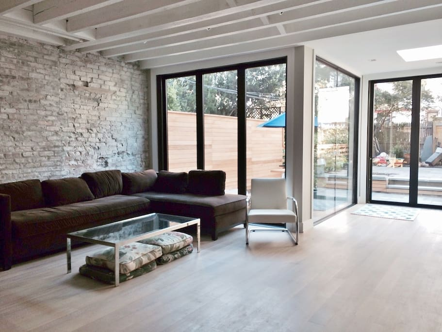 Spacious, light-filled living with radiant heat floors.