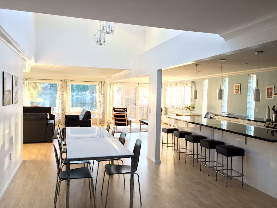 Giant open dining/living/kitchen area.