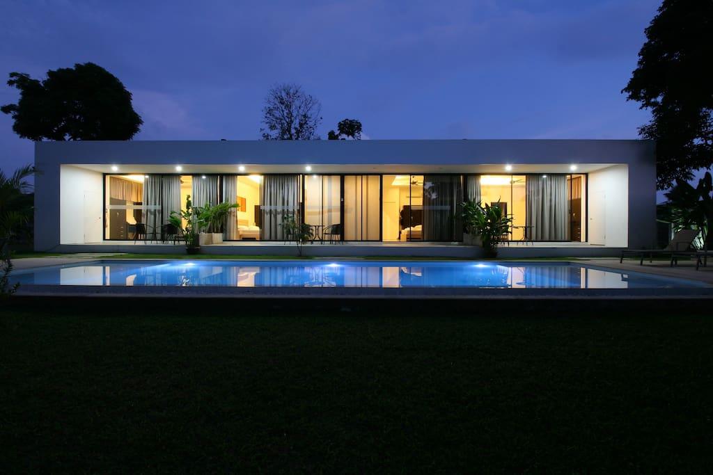 More than Villa at night