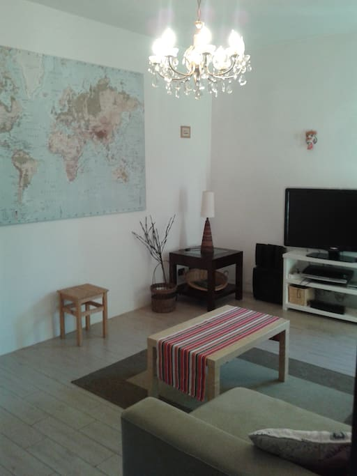 The downstairs room has a 42in TV and a selection of DVDs. The sofa opens to a double bed to accommodate two people.