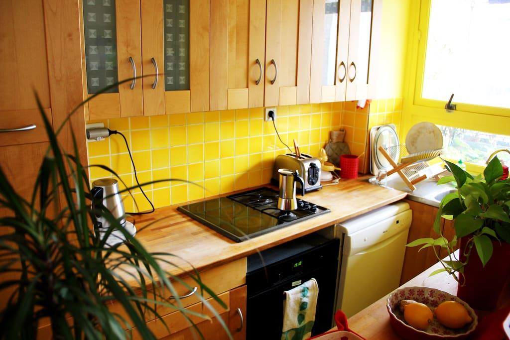La cuisine est entièrement équipée (four, lave-vaisselle, frigidaire, etc.).