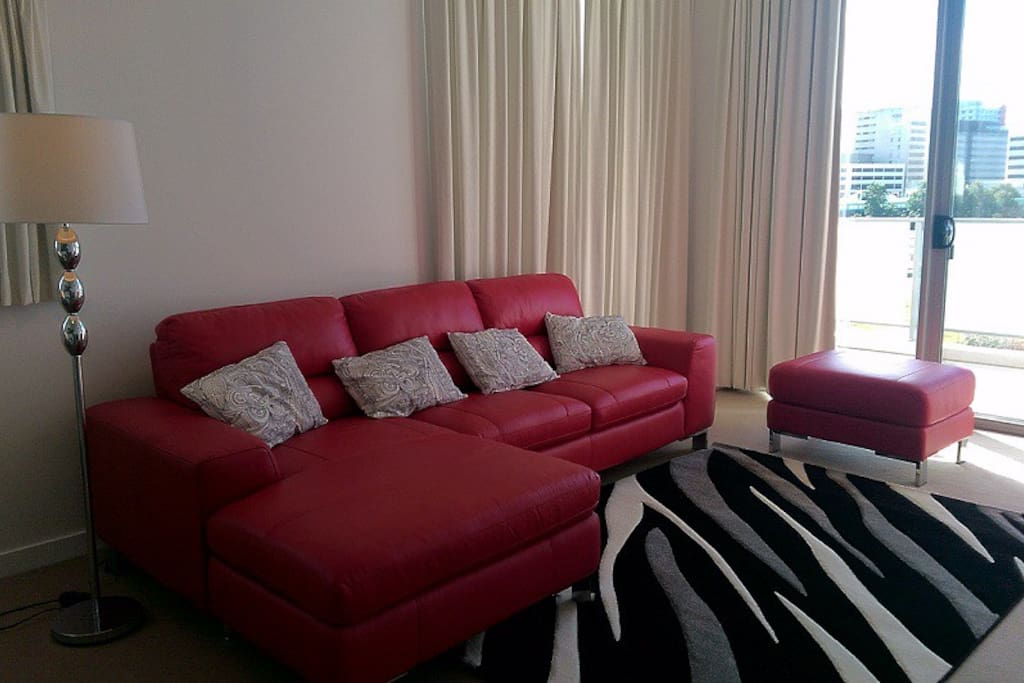 Modern lounge with leather sofa