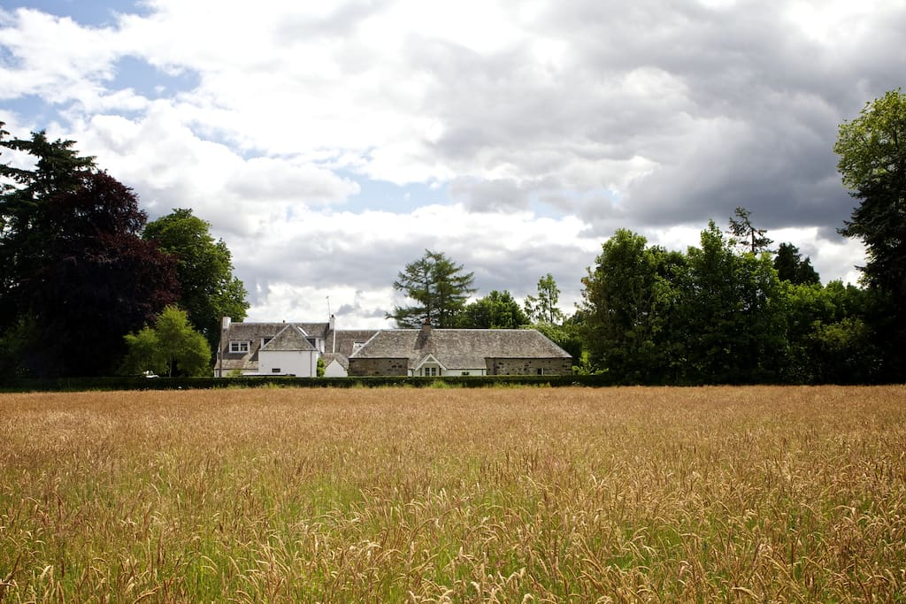 A view of the cottage from the field.