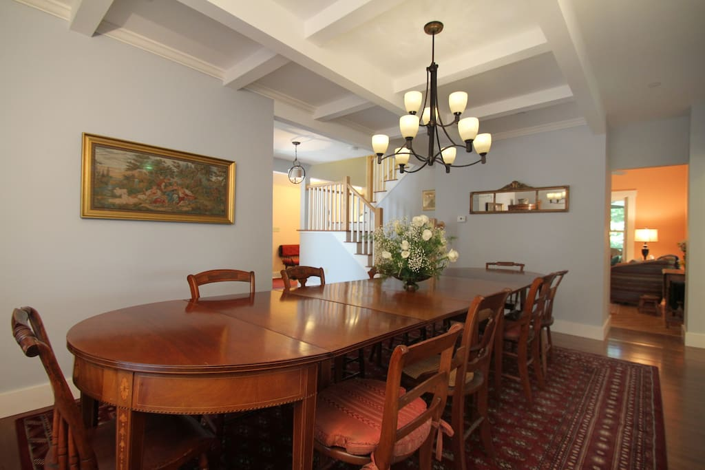 Dining room seats 10+ comfortably