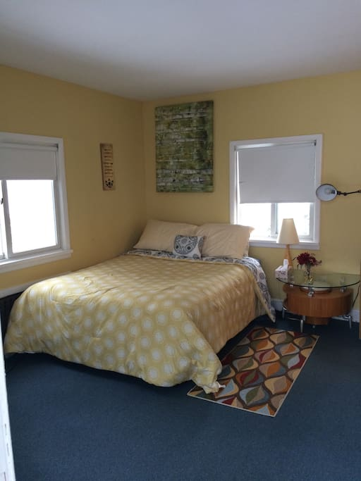 Queen bed for 2. Pull out bed available for a 3rd guest.