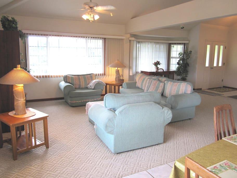 "Lving room has a 48"" flatscreen and comfortable sitting area."