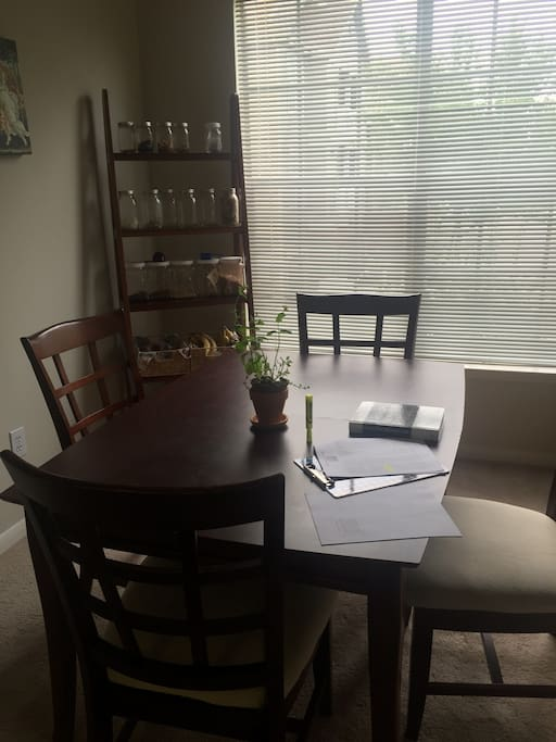 There's a desk in the bedroom but many people choose to use the dining room as a work space.
