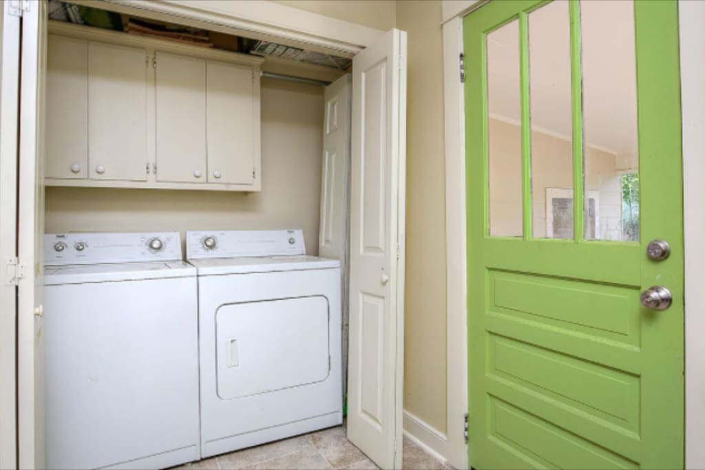 washer and dryer available for use