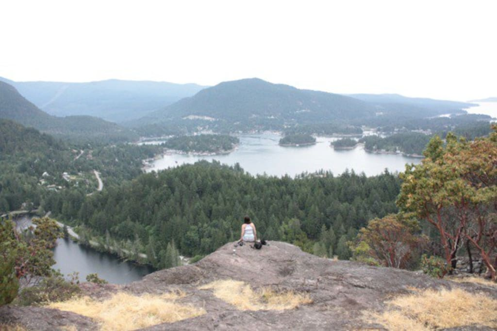 The view of Pender Harbour from the top of Pender Hill.  The trail head is just behind our property.