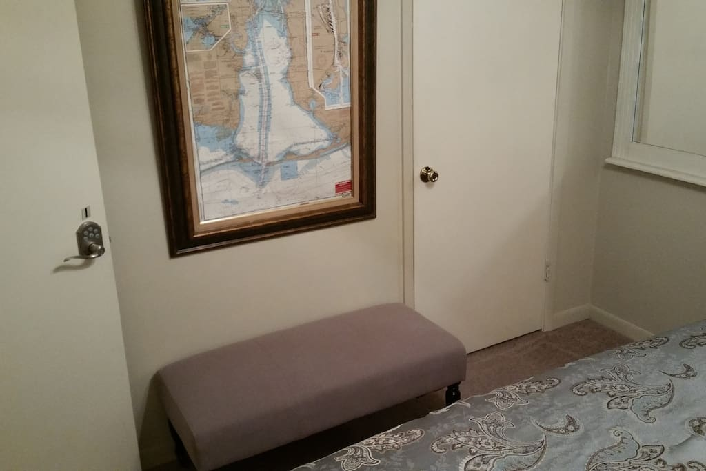 Bench for suitcase or seating + closet