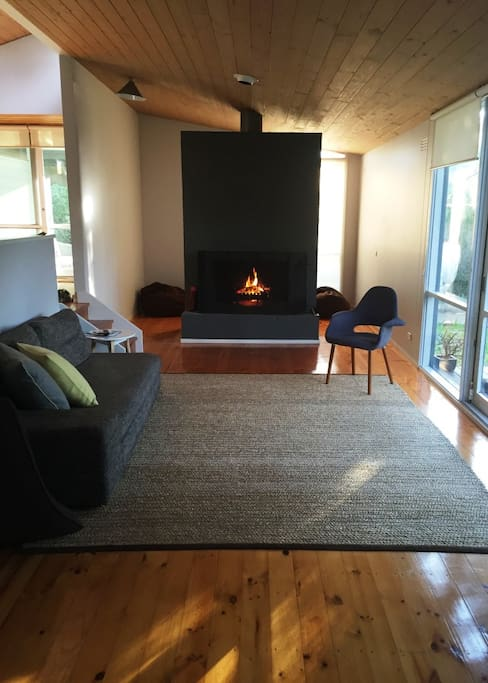 Lounge has an open fire place