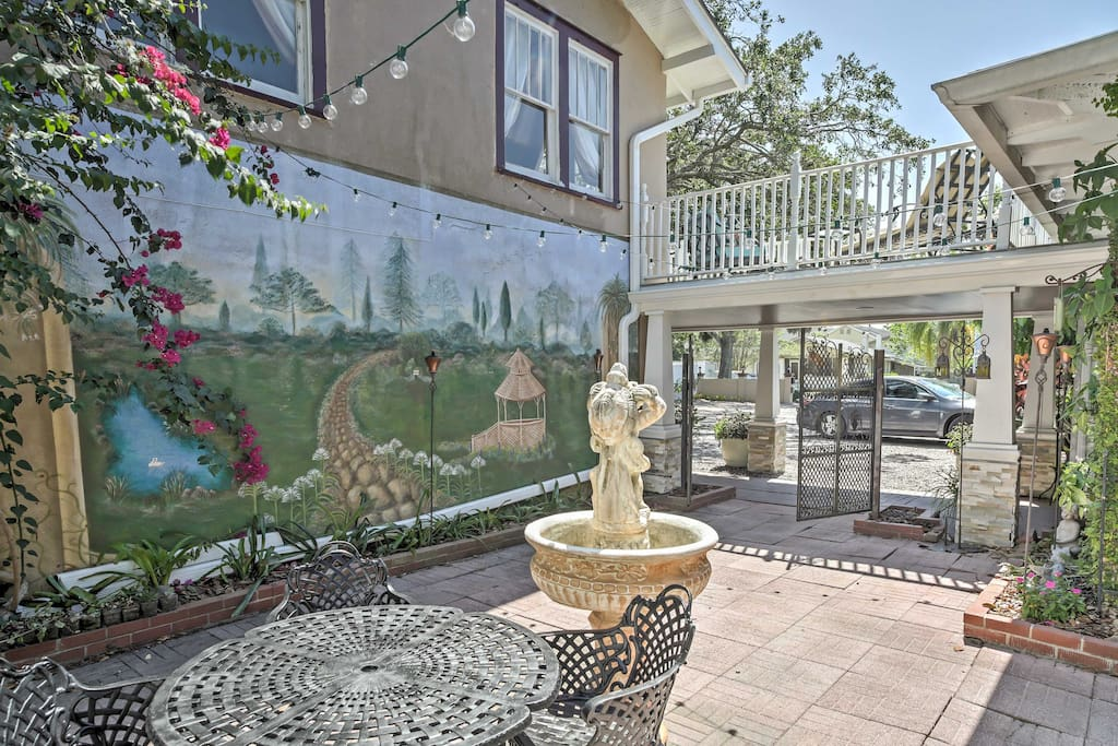 Just outside of your front door, you'll find a courtyard with a beautiful fountain.