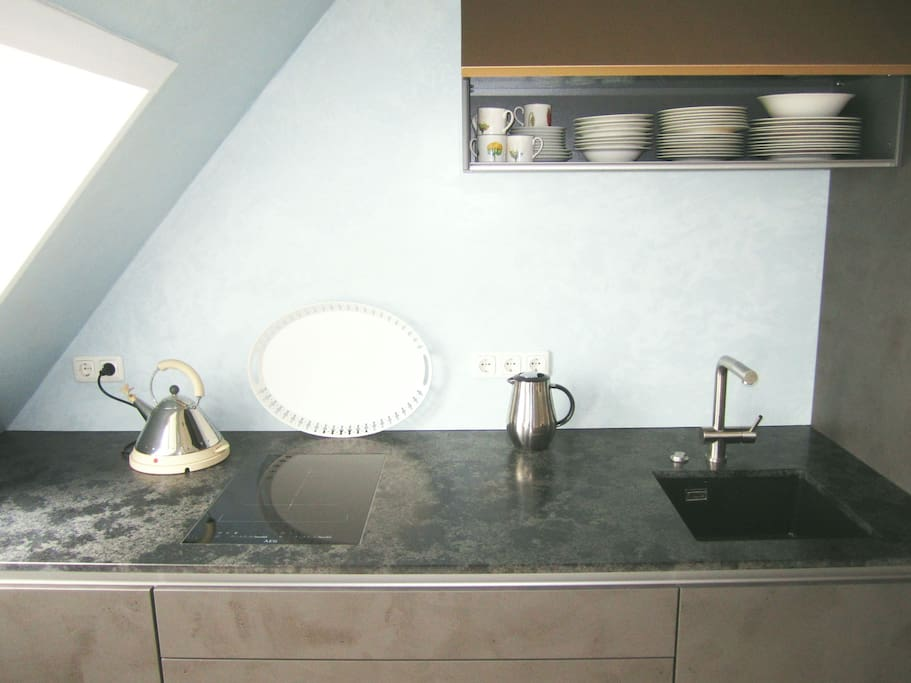 Coole Küche+Induktionskochfeld+Ofen Geschirrspüler