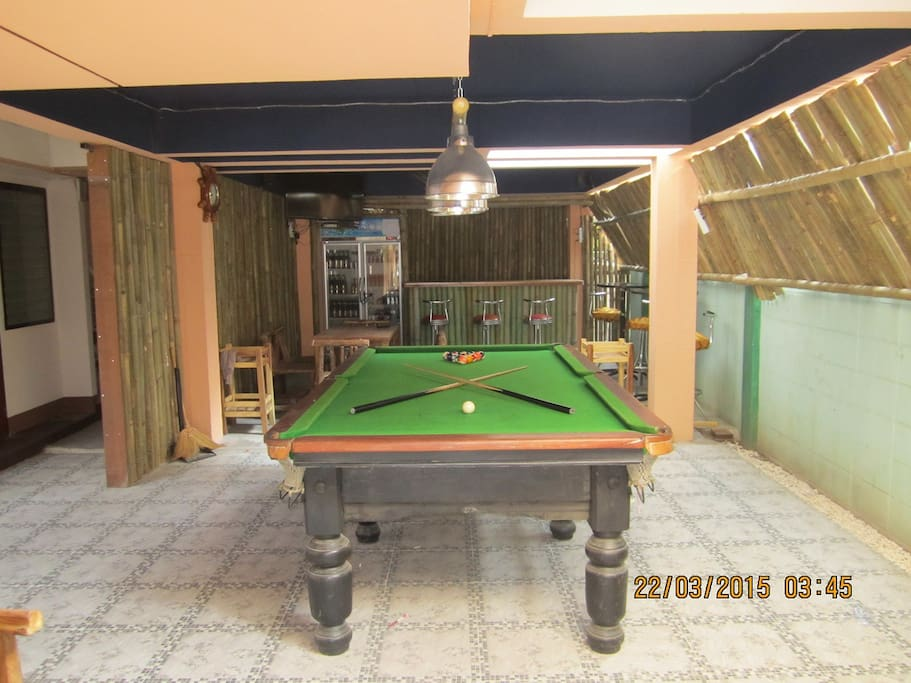 pooltable in our bamboo bar/ restaurant