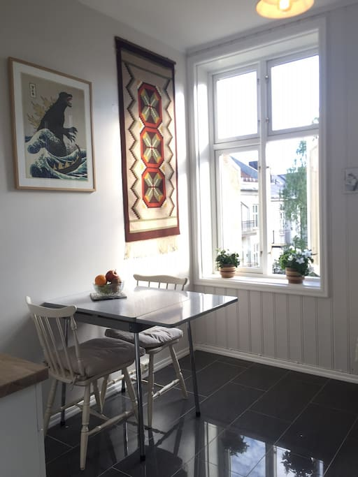Spacious kitchen with seating for three