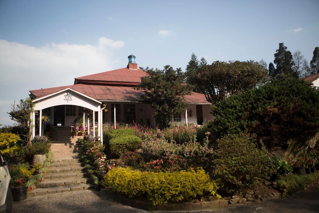 The bungalow's front entrance