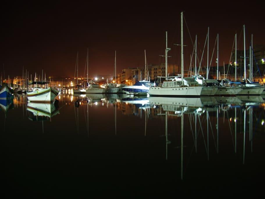 The Msida marina at night 3 minutes away on foot