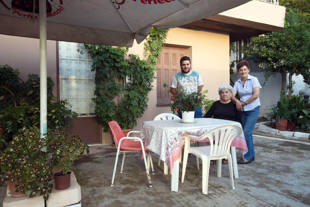 Οur family!! Grandma Koyla, Aggelos and of course the main character Dina! haha