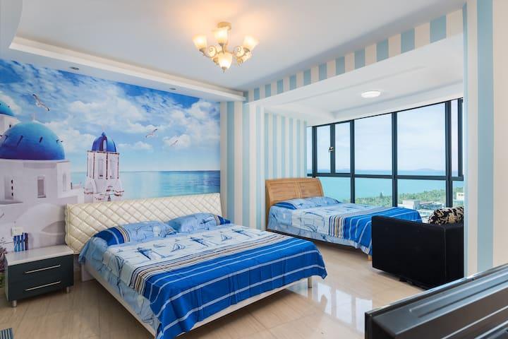 三亚湾擎天半岛小区地中海风格海景家庭房