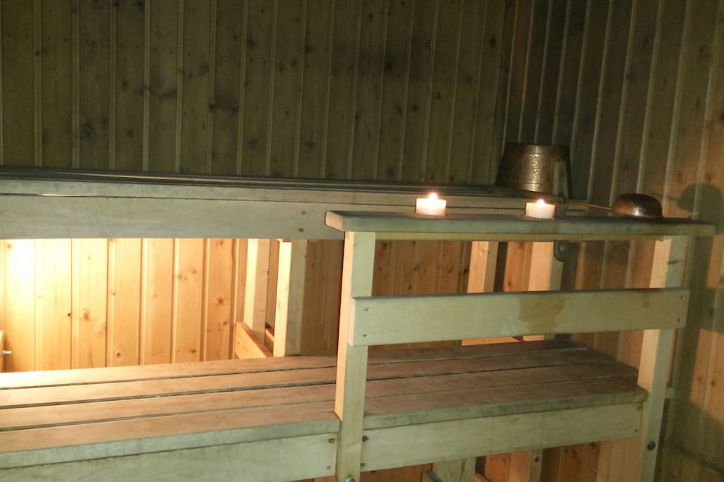 You may use our two toilets, bathroom with shower and sauna with a wood burning stove (sauna only available when hosts are at home).