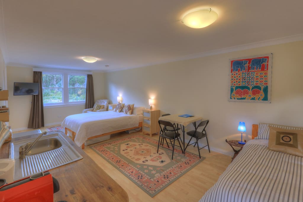 Open plan studio with Queen and Single bed and an option of a 2nd Single bed if required.
