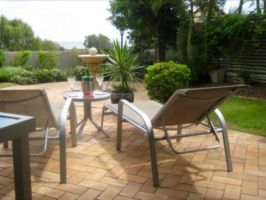 The private garden with spectacular views to the ocean. The perfect place to relax.