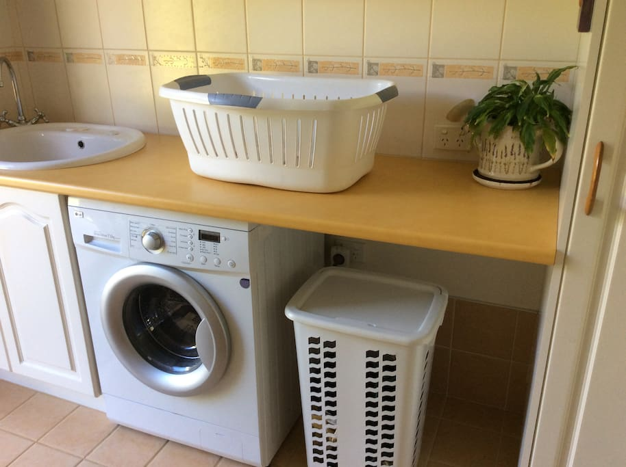 Washing machine for guest use.