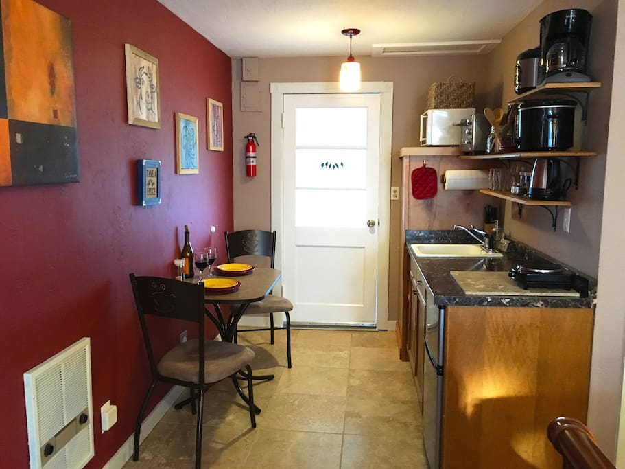 Galley kitchenette with bistro seating