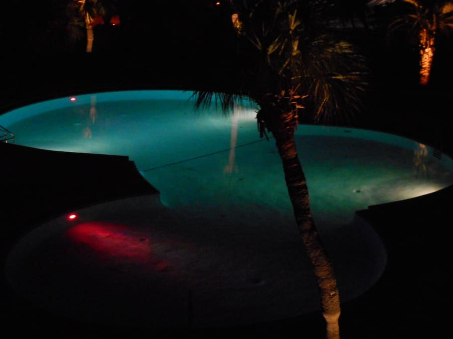 Beautiful colors in the pool during the night