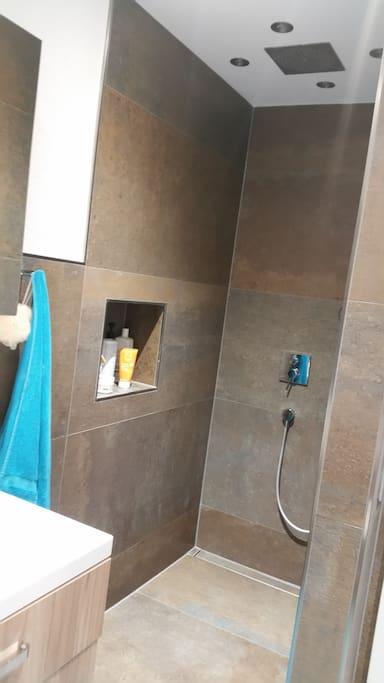 begehbare Dusche im Bad mit Regenbrause