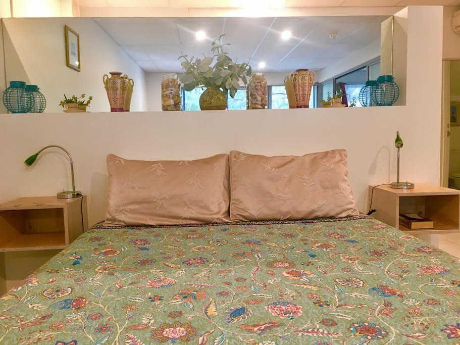 Comfy Queen size bed looking out to bush reserve or snuggle up and watch the telly!
